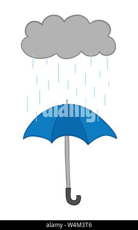 Vector hand-drawn illustration of it's raining and opened umbrella. Colored outlines and colored. - Stock Photo