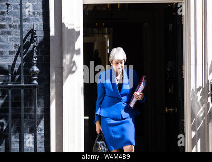 London, UK. 24th July 2019. Britain's Prime Minister Theresa May leaves 10 Downing Street for her last Prime Minister Question (PMQ) session in the House of Commons in London. Michael Tubi/ Alamy Live News - Stock Photo