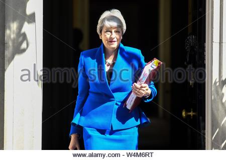 London, UK. 24 July, 2019. PM Theresa May leaves 10 Downing Street for her last PMQs as Prime Minister. Credit: Bart Lenoir/Alamy Live News - Stock Photo