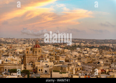 VICTORIA, MALTA - May 13, 2019: View on Cittadella, fortified city in Victoria. It is on the list of UNESCO World Heritage Sites. - Stock Photo