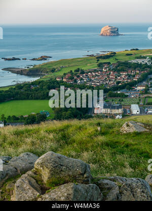 View from top of Berwick Law over Firth of Forth with Bass Rock gannet colony, North Berwick, East Lothian, Scotland, UK - Stock Photo