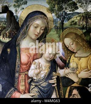 Italy Marche San Severino Marche - Pinacoteca Comunale 'P. Tacchi Venturi' - Pinturicchio 'Madonna della Pace e L'Eterno' - Stock Photo