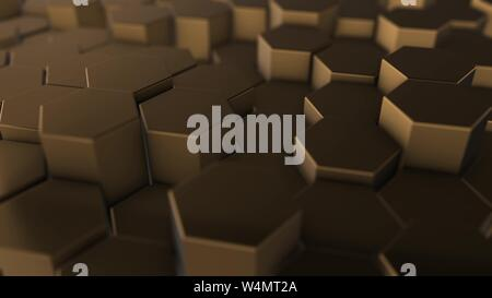 Gold hexagon geometry background. 3d illustration of simple primitives with six angles in front. - Stock Photo