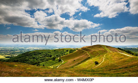 The earthworks of Millennium Hill part of British Camp Iron Age Fort in the Malvern Hills, England - Stock Photo