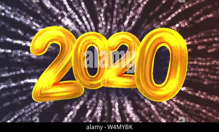 2020 Happy New Year Party Firework Banner Vector - Stock Photo
