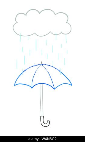 Vector hand-drawn illustration of it's raining and opened umbrella. Colored outlines and white background. - Stock Photo