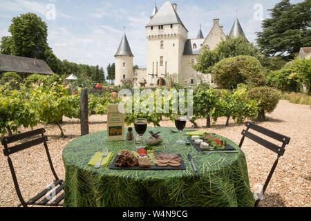 Outdoor restaurant at the Chateau du Rivau - Stock Photo