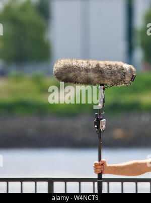 Hamburg, Germany, June 13., 2019: Close-up of a professional microphone for audio recording with a cover to reduce wind noise, intentionally blurred b - Stock Photo