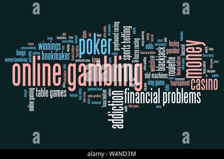 Online gambling issues and concepts word cloud illustration. Word collage concept. - Stock Photo