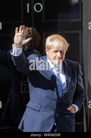 Downing Street, London, UK. 24th July, 2019. New Prime Minister, Boris Johnson, makes a speech at Downing Street after a visit to Buckingham Palace where he met The Queen who asked him to form a government. Credit: Tommy London/Alamy Live News - Stock Photo