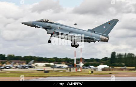 German Air Force (Luftwaffe) Eurofighter Typhoon 31-17 landing at the 2019 Royal International Air Tattoo - Stock Photo