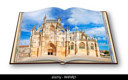 3D render of the detail of the facade of Batalha cathedral in Portugal (Europe) - I'm the copyright owner of the images used in this 3D render. - Stock Photo