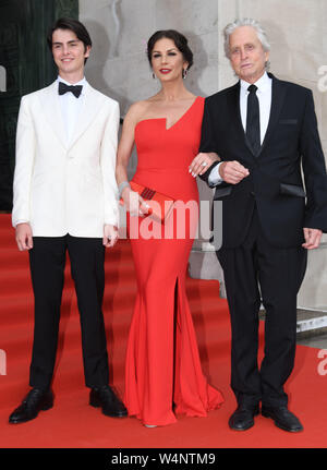 Swansea, Wales, UK. 24th July 2019 Pictured is Welsh actress, Catherine Zeta-Jones with husband Michael Douglas and their son Dylan arriving for a gala dinner at Swansea's Guildhall, to celebrate her  freedom of the city, which she received in a ceremony earlier in the day. Credit : Robert Melen/Alamy Live News. - Stock Photo