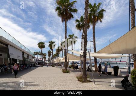 Seaside Promenade Muelle Uno in Malaga, Spain - Stock Photo