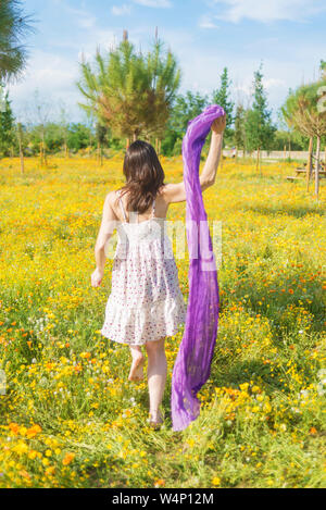 Rear view of a beautiful woman wearing a dress walking through a field while holding a scarf - Stock Photo