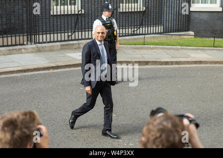 Downing Street, London, UK. 24th July, 2019. Sajid Javid, Chancellor. As Boris Johnson is sworn in as the next Prime Minister new members of his cabinet arrive at  Downing Street. Penelope Barritt/Alamy Live News - Stock Photo