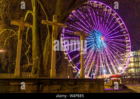Christmas market in Essen, on Kettwiger Stra§e, Ferris wheel  at Burgplatz, Germany - Stock Photo
