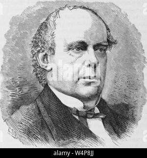 Engraved portrait of Salmon Portland Chase, Chief Justice of the United States, an American politician and jurist from Cornish, New Hampshire, from the book 'Industrial history of the United States' by Albert Sidney Bolles, 1878. Courtesy Internet Archive. () - Stock Photo