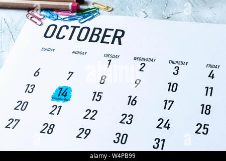 Columbus Day 2019 Holiday in US - October 14 highlighted on the calendar - Stock Photo