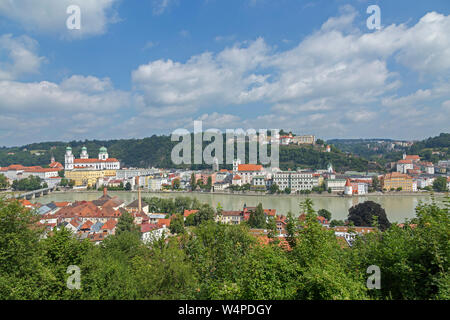 panoramic view of the town and River Inn from the lookout of pilgrimage church Mariahilf, Passau, Lower Bavaria, Germany - Stock Photo