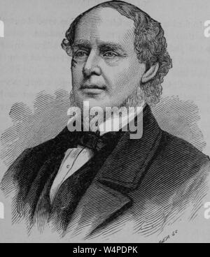 Engraved portrait of Salmon Portland Chase, the sixth Chief Justice of the United States, from the book 'The political history of the United States' by James Penny Boyd, 1888. Courtesy Internet Archive. () - Stock Photo