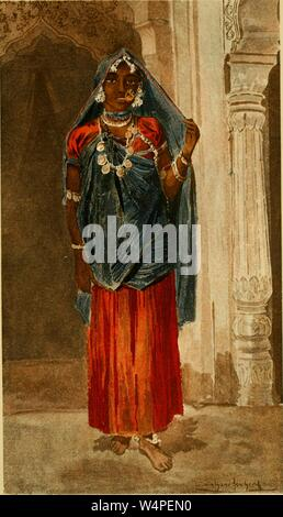 Engraved portrait of the female dancer from Delhi, India, from the book 'Annalen des Naturhistorischen Museums in Wien' by Franc Ritter von Hauer, 1890. Courtesy Internet Archive. () - Stock Photo