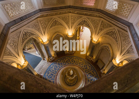 View down into hallway from dome of main tower at the UNESCO World Heritage site of the Palacio de Monserrate (Monserrate Palace), Sintra, Portugal. - Stock Photo