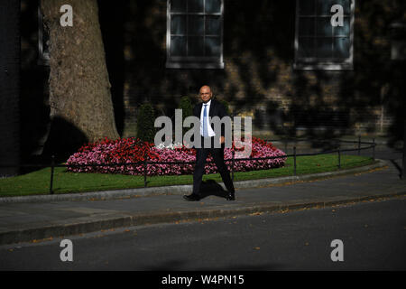 London, UK. 24th July, 2019. Britain's Newly-appointed Chancellor of the Exchequer Sajid Javid arrives at 10 Downing Street, in London, Britain, on July 24, 2019. Britain's new Prime Minister Boris Johnson named the first of his new front bench ministers on Wednesday night. (Photo by Alberto Pezzali/Xinhua) Credit: Xinhua/Alamy Live News - Stock Photo