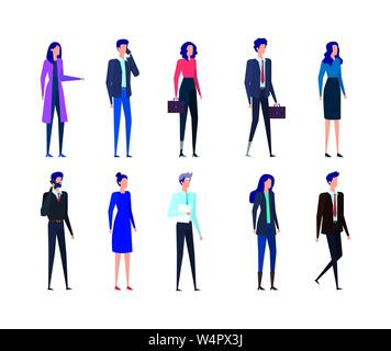 set of businesswomen and businessmen with smartphones and suitcases - Stock Photo