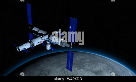 View of TIANGONG 3 - Chinese space station orbiting the planet Earth on black space with stars background. 3D Illustration - Stock Photo