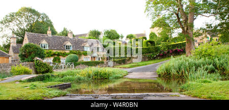 UPPER SLAUGHTER UK - JULY 21, 2019: Aerial view of the Ford at the Village of Upper Slaughter in the Cotswolds, Upper Slaughter, Glocestershire, Engla - Stock Photo