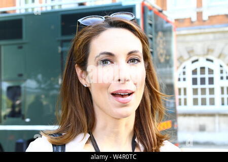 EMMA CROSBY JOURNALIST AND BROADCASTER FOR SKY NEWS PICTURED AT COLLEGE GREEN, IN THE CITY OF WESTMINSTER, LONDON, UK ON 24TH JULY 2019. RUSSELL MOORE PORTFOLIO PAGE. - Stock Photo