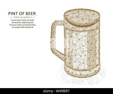 Pint of beer low poly graphic design, polygonal glass mug, alcohol drink wireframe vector illustration made from points and lines on a white backgroun - Stock Photo