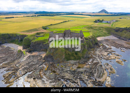Aerial view of Tantallon Castle in East Lothian, Scotland, UK Stock Photo