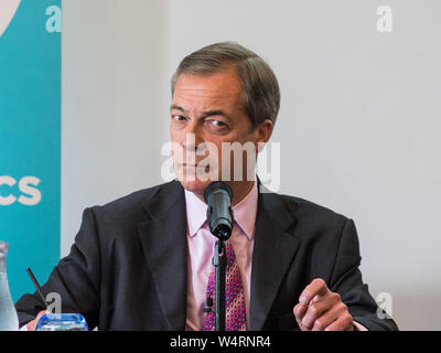 Richard Tice MEP, Party Chairman, Nigel Farage MEP deliver Brexit Party statement and presentation of policy over postal votes Featuring: Nigel Farage Where: London, United Kingdom When: 24 Jun 2019 Credit: Wheatley/WENN - Stock Photo