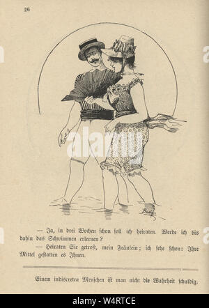 Vintage German cartoon of young couple bathing costumes at the seaside, 19th Century - Stock Photo