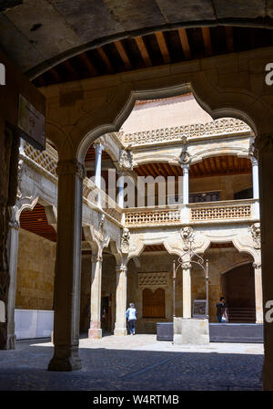 The interior courtyard of the, 16th century, Casa De Las Conchas. Salamanca, Spain. - Stock Photo