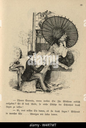 Vintage German cartoon of young man flirting with a woman, 19th Century - Stock Photo