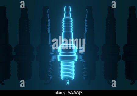 Spare parts spark plugs on blue background for car and motorcycle. New auto parts spark plug. 3D rendering - Stock Photo