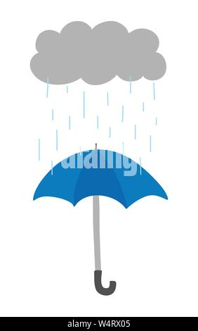 Vector hand-drawn illustration of it's raining and opened umbrella. Colored flat style. - Stock Photo