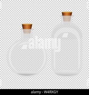 Set of two white transparent closed bottles - Stock Photo