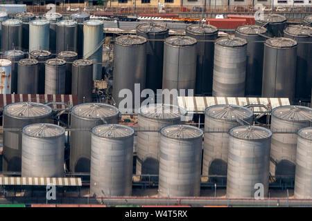 Many harbor silos aerial view panorama