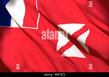 3d rendering of Wallis and Futuna flag waving - Stock Photo