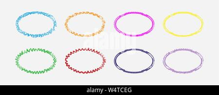 Set of colored curly oval frames, flat simple design. - Stock Photo