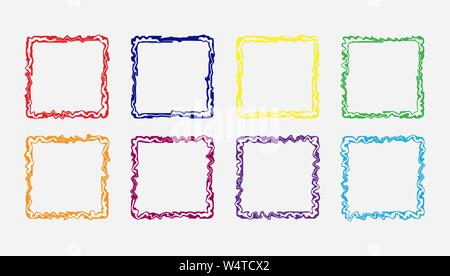 Set of colored curly square frames, flat simple design. - Stock Photo