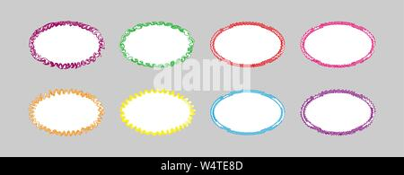 Set of colored curly oval frames with white background, flat simple design. - Stock Photo
