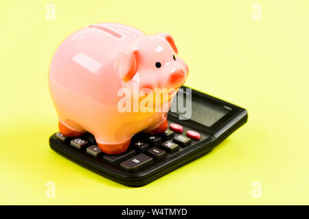 money saving. Accounting and payroll. moneybox with calculator. Piggy bank. income capital management. planning and counting budget. bookkeeping. financial problem. I am so rich - Stock Photo