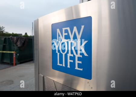 Close-up of logo for insurance company New York Life in downtown Los Angeles, California, October 24, 2018. () - Stock Photo