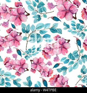 Seamless floral background with flowers. Hand painted watercolor painting. - Stock Photo