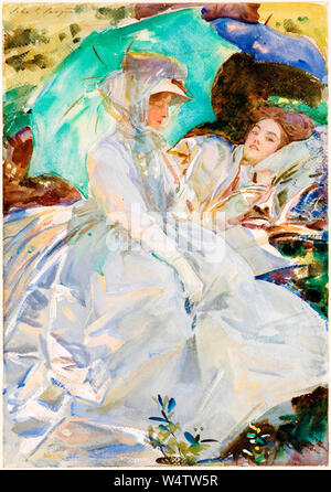 John Singer Sargent, painting, Simplon Pass: Reading, circa 1911 - Stock Photo